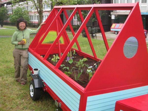 Lisa and the award winning Mobile Allotment on the Nightingale Estate