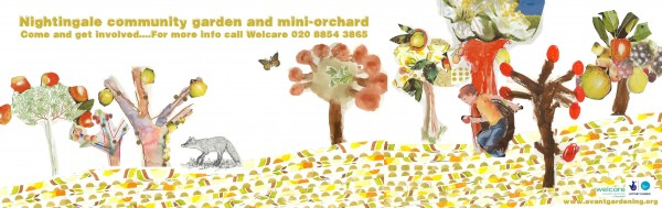 Nightingale banner - Banner created by Avant-Gardening through workshops with children on the Nightingale Estate.