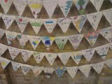 Bunting created during summer workshops on display